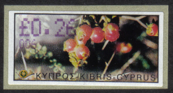 "Cyprus Stamps 170 Vending Machine Labels Type E 2002 Paphos (006) ""Sarcopoterium Spinosum"" 26 cent - MINT"