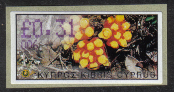 "Cyprus Stamps 173 Vending Machine Labels Type E 2002 Paphos (006) ""Citinus Hypocistis"" 31 cent - MINT"
