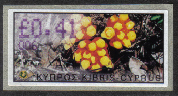 "Cyprus Stamps 178 Vending Machine Labels Type E 2002 Paphos (006) ""Citinus Hypocistis"" 41 cent - MINT"