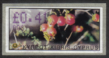 "Cyprus Stamps 180 Vending Machine Labels Type E 2002 Paphos (006) ""Sarcopoterium Spinosum"" 41 cent - MINT"
