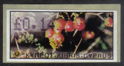 Cyprus Stamps 190 Vending Machine Labels Type E 2002 Larnaca (007)