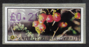 "Cyprus Stamps 195 Vending Machine Labels Type E 2002 Larnaca (007) ""Sarcopoterium Spinosum"" 21 cent - MINT"