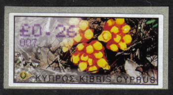 "Cyprus Stamps 198 Vending Machine Labels Type E 2002 Larnaca (007) ""Citinus Hypocistis"" 26 cent - MINT"