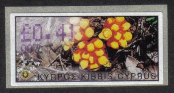 "Cyprus Stamps 208 Vending Machine Labels Type E 2002 Larnaca (007) ""Citinus Hypocistis"" 41 cent - MINT"