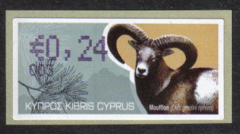 "Cyprus Stamps 349 Vending Machine Labels Type H 2010 (003) Nicosia ""Moufflon"" 24 cent - MINT"
