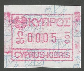 Cyprus Stamps 001 Vending Machine Labels Type A 1989 (001) Nicosia 5 cent - MINT