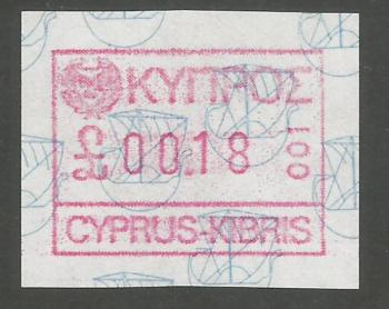 Cyprus Stamps 004 Vending Machine Labels Type A 1989 (001) Nicosia 18 cent - MINT
