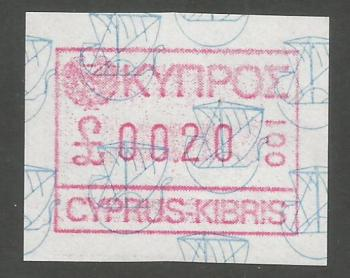 Cyprus Stamps 005 Vending Machine Labels Type A 1989 (001) Nicosia 20 cent - MINT