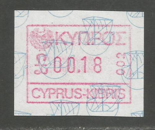 Cyprus Stamps 009 Vending Machine Labels Type A 1989 (002) Limassol 18 cent