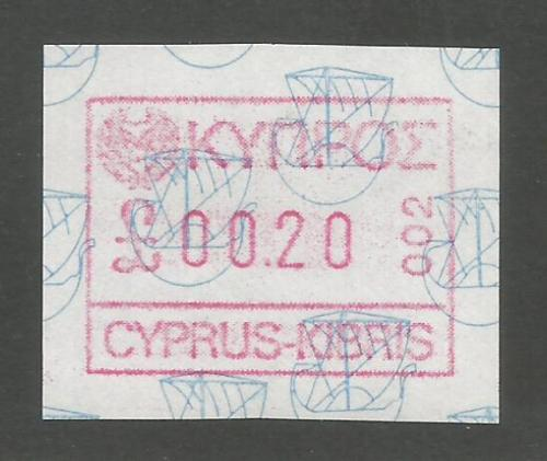 Cyprus Stamps 010 Vending Machine Labels Type A 1989 (002) Limassol 20 cent
