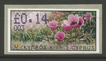"Cyprus Stamps 067 Vending Machine Labels Type E 2002 Nicosia (003) ""Anunculus Asiaticus"" 14 cent - MINT"
