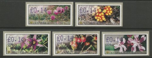 Cyprus Stamps 097-101 Vending Machine Labels Type E 2002 Ag Napa (004) One