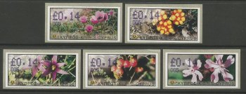 Cyprus Stamps 127-31 Vending Machine Labels Type E 2002 Limassol (005) One of each Flower type on 14 cent labels - MINT