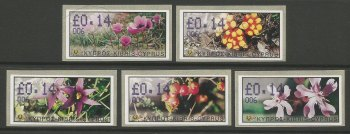 Cyprus Stamps 157-61 Vending Machine Labels Type E 2002 Paphos (006) One of each Flower type on 14 cent labels - MINT