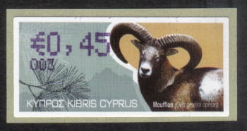 "Cyprus Stamps 353 Vending Machine Labels Type H 2010 (003) Nicosia ""Moufflon"" 45 cent - MINT"