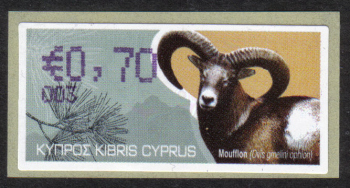 "Cyprus Stamps 357 Vending Machine Labels Type H 2010 (003) Nicosia ""Moufflon"" 70 cent - MINT"
