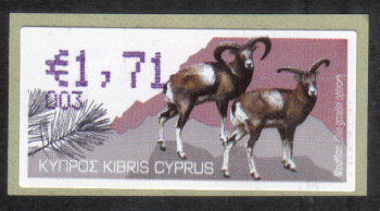 "Cyprus Stamps 360 Vending Machine Labels Type H 2010 (003) Nicosia ""Moufflon"" 1.71 cent - MINT"