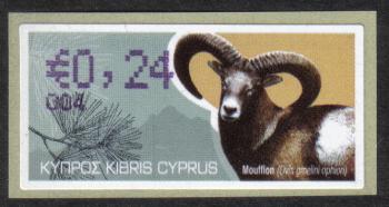 "Cyprus Stamps 361 Vending Machine Labels Type H 2010 (004) Famagusta ""Moufflon"" 24 cent - MINT"