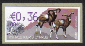 "Cyprus Stamps 364 Vending Machine Labels Type H 2010 (004) Famagusta ""Moufflon"" 36 cent - MINT"