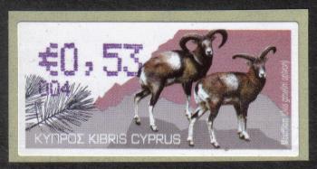 "Cyprus Stamps 368 Vending Machine Labels Type H 2010 (004) Famagusta ""Moufflon"" 53 cent - MINT"