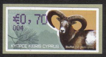 "Cyprus Stamps 369 Vending Machine Labels Type H 2010 (004) Famagusta ""Moufflon"" 70 cent - MINT"