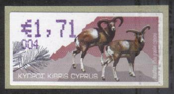 "Cyprus Stamps 372 Vending Machine Labels Type H 2010 (004) Famagusta ""Moufflon"" 1.71 cent - MINT"