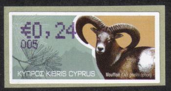 """Cyprus Stamps 373 Vending Machine Labels Type H 2010 (005) Limassol """"Moufflon"""" 24 cent - MINT"""