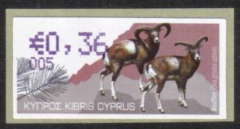 """Cyprus Stamps 376 Vending Machine Labels Type H 2010 (005) Limassol """"Moufflon"""" 36 cent - MINT"""