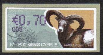 """Cyprus Stamps 381 Vending Machine Labels Type H 2010 (005) Limassol """"Moufflon"""" 70 cent - MINT"""