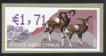 """Cyprus Stamps 384 Vending Machine Labels Type H 2010 (005) Limassol """"Moufflon"""" 1.71 cent - MINT"""
