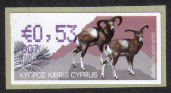"Cyprus Stamps 404 Vending Machine Labels Type H 2010 (007) Larnaca ""Moufflon"" 53 cent - MINT"