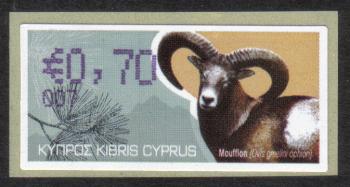 "Cyprus Stamps 405 Vending Machine Labels Type H 2010 (007) Larnaca ""Moufflon"" 70 cent - MINT"