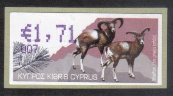 "Cyprus Stamps 408 Vending Machine Labels Type H 2010 (007) Larnaca ""Moufflon"" 1.71 cent - MINT"