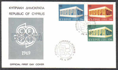Cyprus Stamps SG 331-33 1969 Europa Emblem - Official FDC