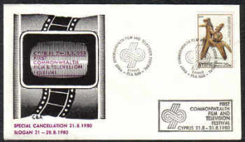 Cyprus Stamps 1980 First Commonweath film and television festival - Cachet Slogan (c294)