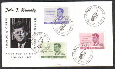 Cyprus Stamps SG 256-58 1965 J F Kennedy - Unofficial FDC (c290)