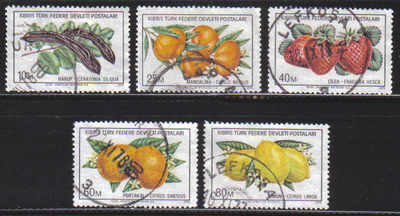 North Cyprus Stamps SG 029-33 1976 Fruits - USED (c318)