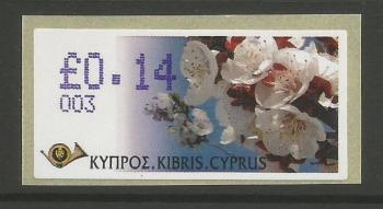 "Cyprus Stamps 223 Vending Machine Labels Type G 2005 (003) Nicosia ""Apricot Tree"" 14 cent - MINT"