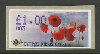 "Cyprus Stamps 234 Vending Machine Labels Type G 2005 (003) Nicosia ""Poppy"" 1.00 cent - MINT"