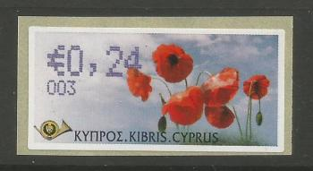 "Cyprus Stamps 284 Vending Machine Labels Type G 2008 (003) Nicosia ""Poppy"" 24 cent - MINT"