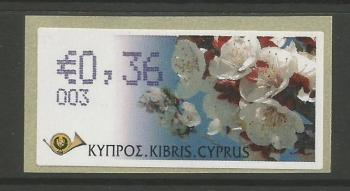 "Cyprus Stamps 285 Vending Machine Labels Type G 2008 (003) Nicosia ""Apricot Tree"" 36 cent - MINT"