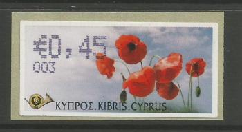 "Cyprus Stamps 288 Vending Machine Labels Type G 2008 (003) Nicosia ""Poppy"" 45 cent - MINT"