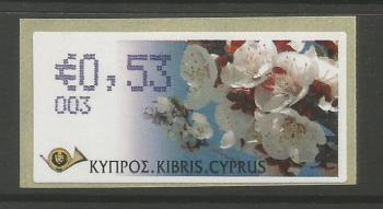 "Cyprus Stamps 289 Vending Machine Labels Type G 2008 (003) Nicosia ""Apricot Tree"" 53 cent - MINT"
