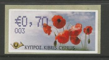 "Cyprus Stamps 292 Vending Machine Labels Type G 2008 (003) Nicosia ""Poppy"" 70 cent - MINT"