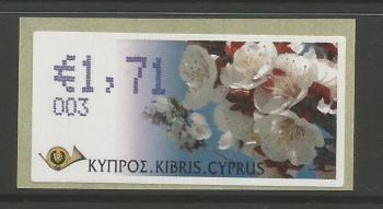 "Cyprus Stamps 293 Vending Machine Labels Type G 2008 (003) Nicosia ""Apricot Tree"" 1.71 cent - MINT"