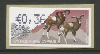 """Cyprus Stamps 388 Vending Machine Labels Type H 2010 (006) Paphos """"Moufflon"""" 36 cent - MINT"""