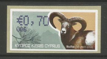 """Cyprus Stamps 393 Vending Machine Labels Type H 2010 (006) Paphos """"Moufflon"""" 70 cent - MINT"""
