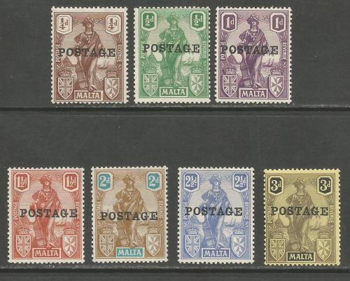 Malta Stamps SG 0143-49 1926 Overprints part set - MLH (h935)