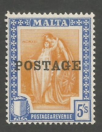 Malta Stamps SG 0155 1926 Overprints 5 Shillings - MLH (h938)