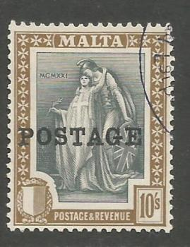 Malta Stamps SG 0156 1926 Overprints 10 Shillings - USED (h939)